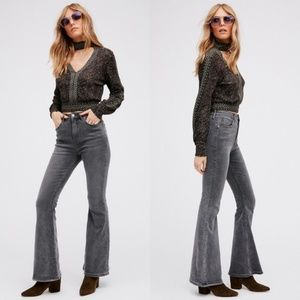 Free People High Rise Flare Jeans in Light Grey 27